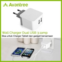 Avantree Dual USB Wall Charger 3.1amp for tablet & Smartphone