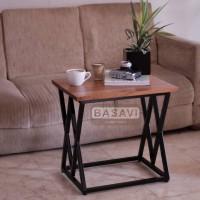 Meja Kayu Jati Asli Besi Kopi Samping side coffee table Tamu Minimalis