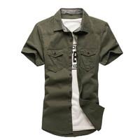 Kemeja Casual Pria Tactical Premium Varian Hijau Army Fashionable
