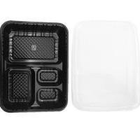 HOT SALE Kotak Makan Mika Bento Tray Hitam & Tutup Plastik (4 Sekat)