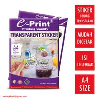 Kertas Stiker Transparan Anti Air A4 E-PRINT Transparent Sticker