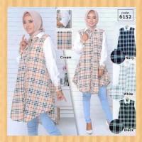 baju atasan muslim wanita blouse jumbo maxi kemeja long tunik putih