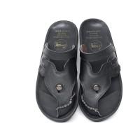 Sandal Pria Kulit Asli Cevany E39 Black Sendal Kasual Jepit Kekinian