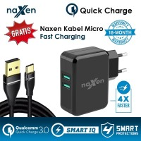 Naxen Qualcomm Quick Charge 3.0 2Port USB Charger + Kabel Gold Plated