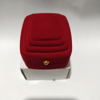 Kotak Cincin Single Motif Borobudur Red Bludru Luxury