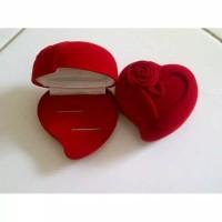 Kotak Cincin Kawin Love Bludru Merah Rose Mawar Wedding Ring Tunangan