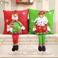 Sarung Bantal Desain Santa Claus Snowman untuk Dekorasi Natal