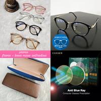 kacamata frame oval + lensa anti blue ray minus dan normal