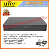 NVR301-04B Uniview / UNV 4 Channel 2MP 1080P HD H.265 NVR 4 Ch Murah