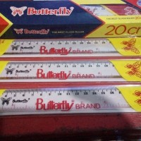 Penggaris Plastik Butterfly 20cm/Mistar Plastik Butterfly 20cm/Ruler