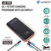 Ultimate Powerbank 20000mah L20 Pro QC+PD Fast Charging With LED