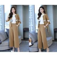 Baju setelan wanita Korea with ribbon 2 in 1 premium (no inner)