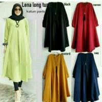 Baju wanita tunik muslim kemeja panjang Lna long top premium