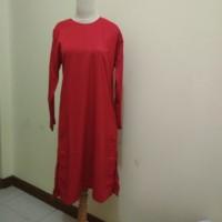 Tunik Atasan Blus Wanita Muslim Panjang Merah Tua Cabe Bordir