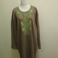 Baju Tunik Atasan Blus Wanita Muslim Tebal Bordir Hijau Lumut Pupus