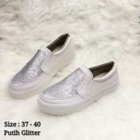 Fashion wanita - sepatu wanita - slip on - tenzo gliter