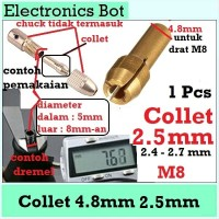 [EBS] Collet Drill Chuck Bit Mini M8 4.8mm Ukuran 2.5mm Brass Kuningan