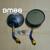 Spion Bulat Model Retro Motif Carbon - Motor