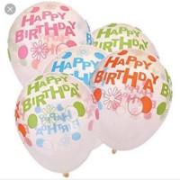 Balon Latex Happy Birthday Transparan