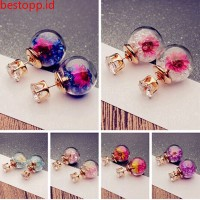 Fashion glass ball broken diamonds dry flower personality double side