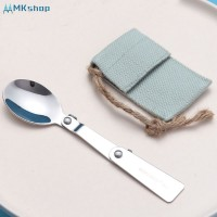 Foldable Stainless Steel Spoon Spork Fork Camping Spoon Cooking Outdo