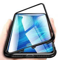 Luxury Magnetic Case Oppo F7 Metal Glass Back Cover Casing 2 in 1