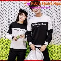 Kaos Couple Babyterry Putih Hitam - CP T-SHIRT LIMITED EDITION RO