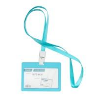 Bantex ID Card Holder Larnyard 90x54mm Landscape Sky Blue #8863 23