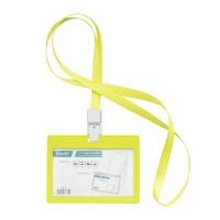 Bantex ID Card Holder Larnyard 90x54mm Landscape Lime #8863 65