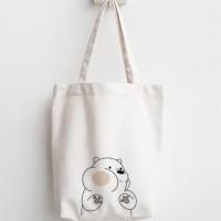 totebag we bare bears tas belanja lipat tas blacu dan kanvas recycle