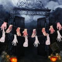 Dekorasi Halloween Banner Kaki Tangan Berdarah