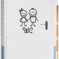 """Stiker Dinding / Stiker Kaca Kamar Mandi (Sepasang Anak Kecil WC"""")"""