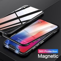 Casing Case Magnet Tempered Glass untuk Samsung note8 S7 s7e 8 9 Plus