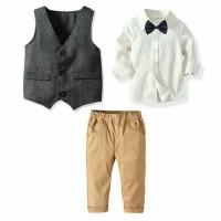 set setelan kemeja putih vest resmi pesta impor korea anak laki laki