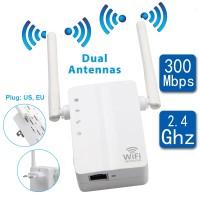 Repeater Penguat Sinyal Wifi 300Mbps Bahan ABS Warna Putih untuk Rumah