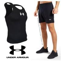 Paket Stelan Baju Kaos Singlet Celana Pendek Gym Fitness Pria   UA