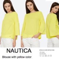 BBJ06025 Nautica Bright Yellow Crochet Bellsleeve Viscose Blouse