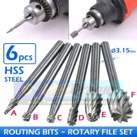 Set 6 Mata Routing Bits Router Rotary File Burr Grinding Carving HSS
