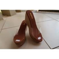 Sepatu Wanita Wedges Moya Cokelat Motif Batik Cantik Elegan Murah
