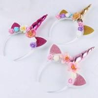 Bando Anak Bayi Perempuan Tanduk Unicorn Glitter