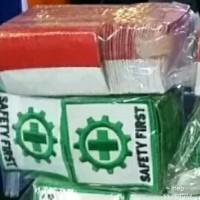 Badge Logo Safety Bet First K3 dan Bendera Merah Putih