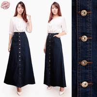 Zuriya long skirt jeans rok maxi All Size Hitam