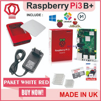Raspberry Pi3 Pi 3 Model b+ 3b+ Plus Paket Merah Putih Official Case - EnamBelas
