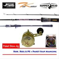 Paket Jigging Master light Jigging OverHead Lengkap-Rod-Reel-PE
