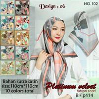 Jilbab Segi Empat Satin Velvet Branded Motif - seri : PLATINUM 06