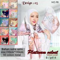 Jilbab Segi Empat Satin Velvet Branded Motif - seri : PLATINUM 05