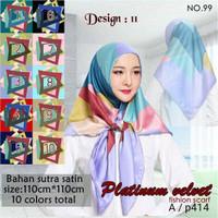 Jilbab Segi Empat Satin Velvet Branded Motif - seri : PLATINUM 11