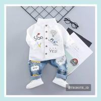 Setelan Baju Kemeja Lengan Panjang Celana Jeans Anak Bayi Cowok Laki