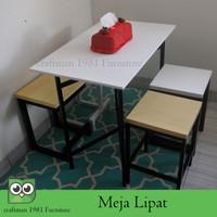 Meja Makan Cafe Meja Lipat Jualan 90x50 cm
