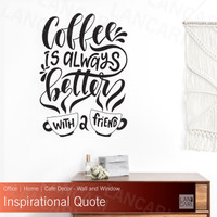 Sticker Cutting Coffee Quotes Cafe Kopi Stiker dinding kaca kafe